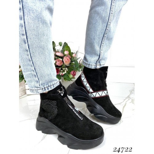 Зимние ботинки хайтопы на высокой подошве волна