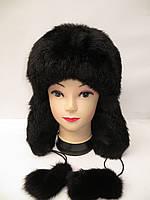 Модная женская шапка ушанка - мех кролика