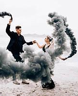 Ручний Чорний кольоровий дим, димова шашка, довга рукоятка, 60 секунд, Черный Дым, фото 1