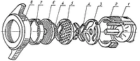 Комплект режущего инструмента мясорубки МИМ-300, МИМ-350, ТМ-32, (без борта)