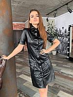 Платье с карманами из эко-кожи черное, фото 1