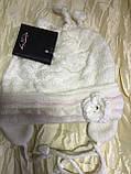 Одинарная белая шапочка с ушками на 1-2 года, фото 2