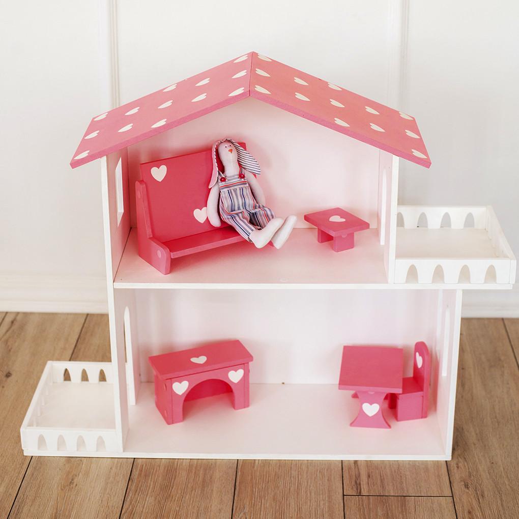 Кукольный домик Kiddy Room 2 этажа Белый с коричневым