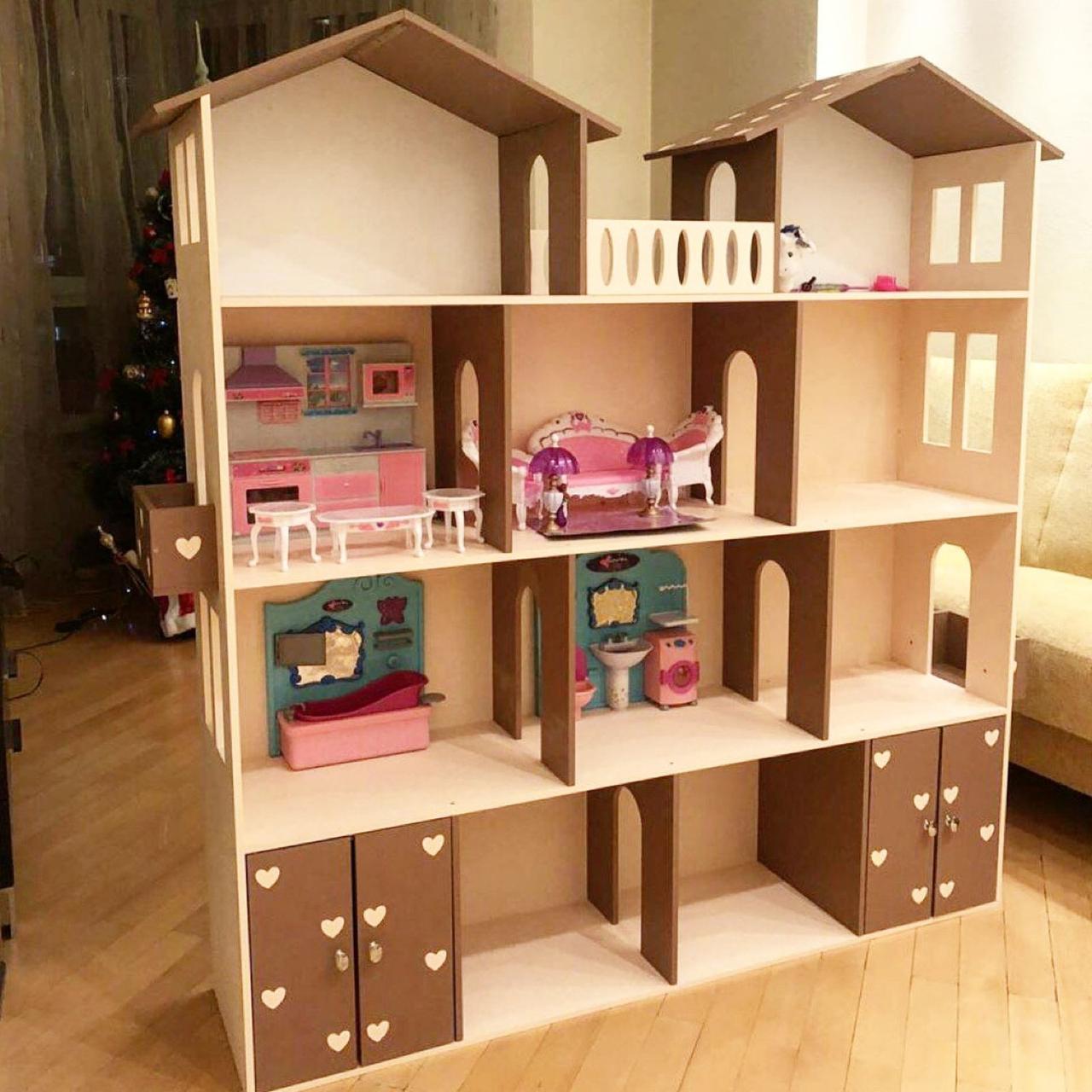 Кукольный домик KiddyRoom 4 этажа Бежевый с коричневым