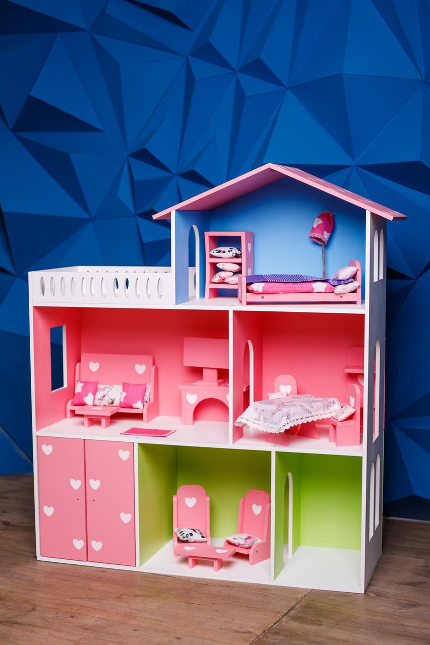 Кукольный домик KiddyRoom 3 этажа Цветной