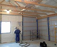 Утепление, теплоизоляция пенополиуретаном гаража, СТО. (Напыление ППУ)