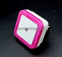 Ночник светодиодный с датчиком квадрат розовый №250