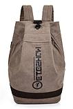 Рюкзак коричневий мішковина, фото 2