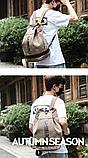 Рюкзак коричневий мішковина, фото 4