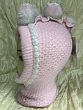 Двойная розовая шапочка-шлем с белыми помпоном, фото 2