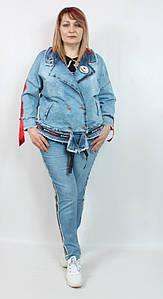 Турецкий джинсовый женский жакет больших размеров 50-64