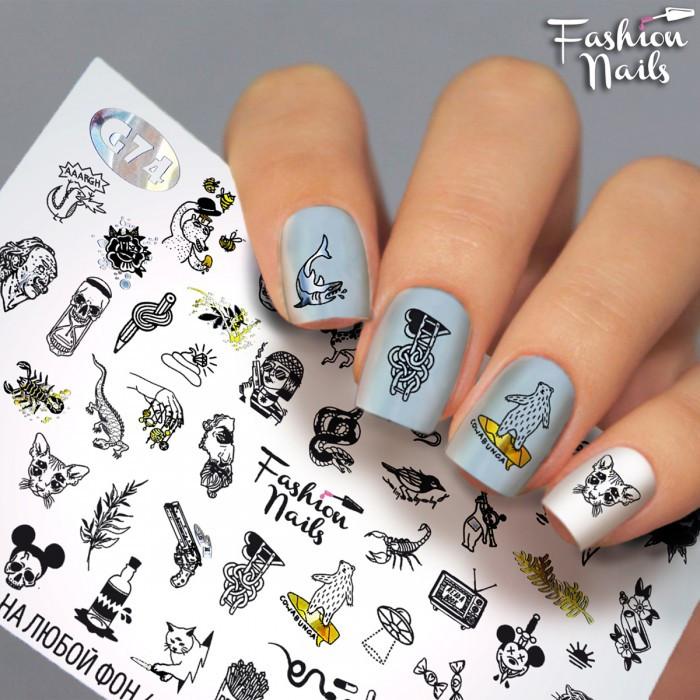 Слайдер дизайн для нігтів ( водні наклейки на нігті) - Особи, Кіт, Пістолет, Скорпіон, Ящірка, ведмідь