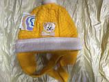 Двойная жёлтая шапочка для девочки с ушками на возраст до года, фото 2