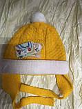 Двойная жёлтая шапочка для девочки с ушками на возраст до года, фото 3