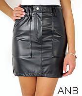 Модна спідниця жіноча з еко-шкіри (4 кольори) АА/-1328 - Чорний, фото 1