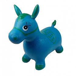 Детская надувная игрушка-тренажер для деток Metr+ резиновый прыгун-лошадка, 55х28х51 см., синий