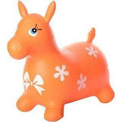 Детский надувной прыгунлошадка резиновый Bambi, оранжевый