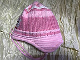 Двойная розовая шапочка для девочки с ушками на возраст до года, фото 2