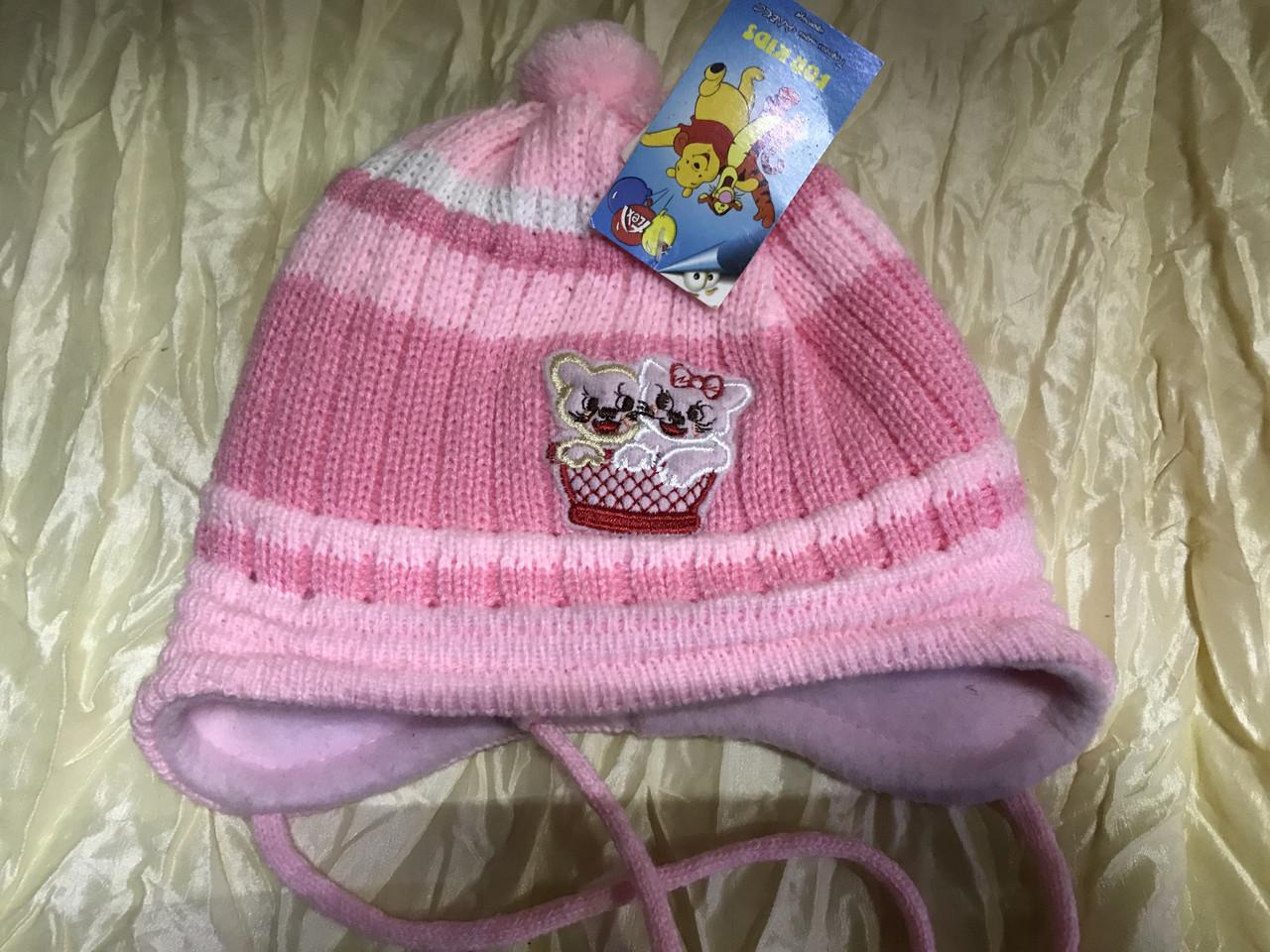 Двойная розовая шапочка для девочки с ушками на возраст до года