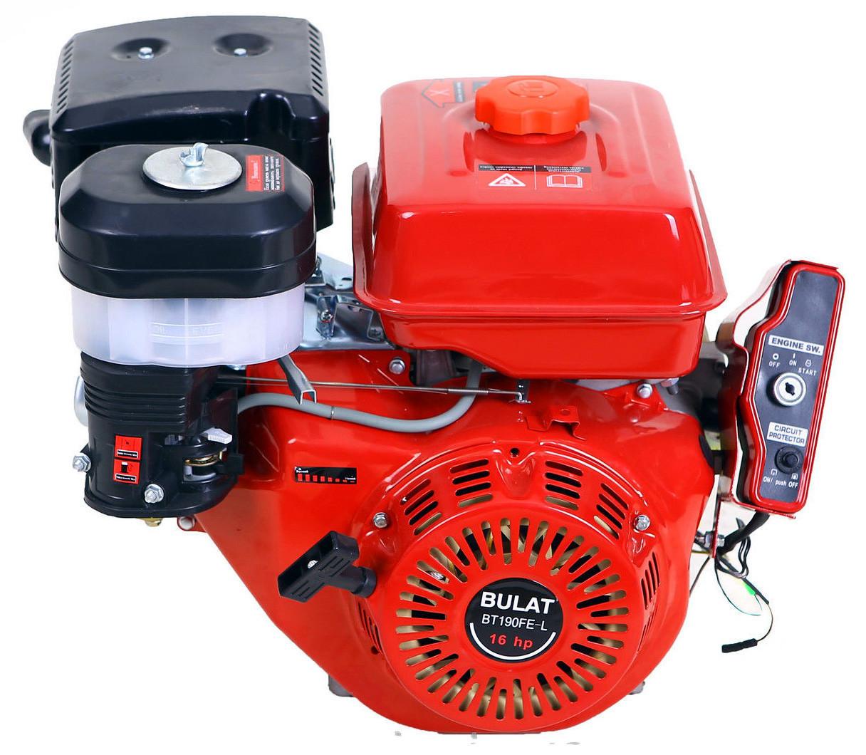 Бензиновый двигатель BULAT  BТ190FЕ-L (16,0 л.с., эл.старт, шпонка Ø25мм, L=72мм, редуктор)+доставка