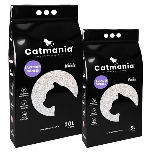 Бентонитовый наполнитель CATMANIA лаванда + фиолет. гранулы, 10л