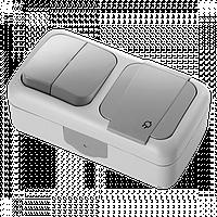 Выключатель 2кл  + Розетка с заземлением  IP54 VIKO Palmiye сірий