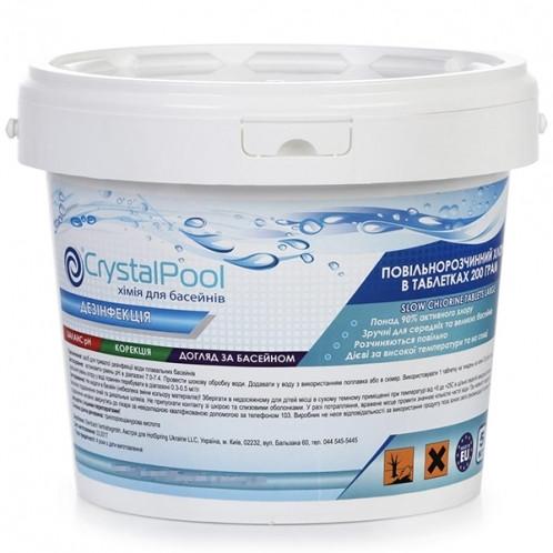 Химия для бассейнов Crystal Pool Slow Chlorine Tablets Large 5кг (200гр)