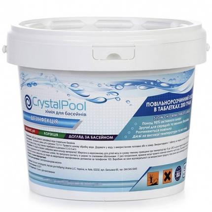 Химия для бассейнов Crystal Pool Slow Chlorine Tablets Large 5кг (200гр), фото 2