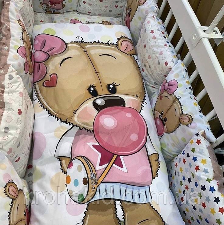 """Набор постельного белья в детскую кроватку/ манеж """"Мишки"""" - Бортики / Защита в кроватку"""