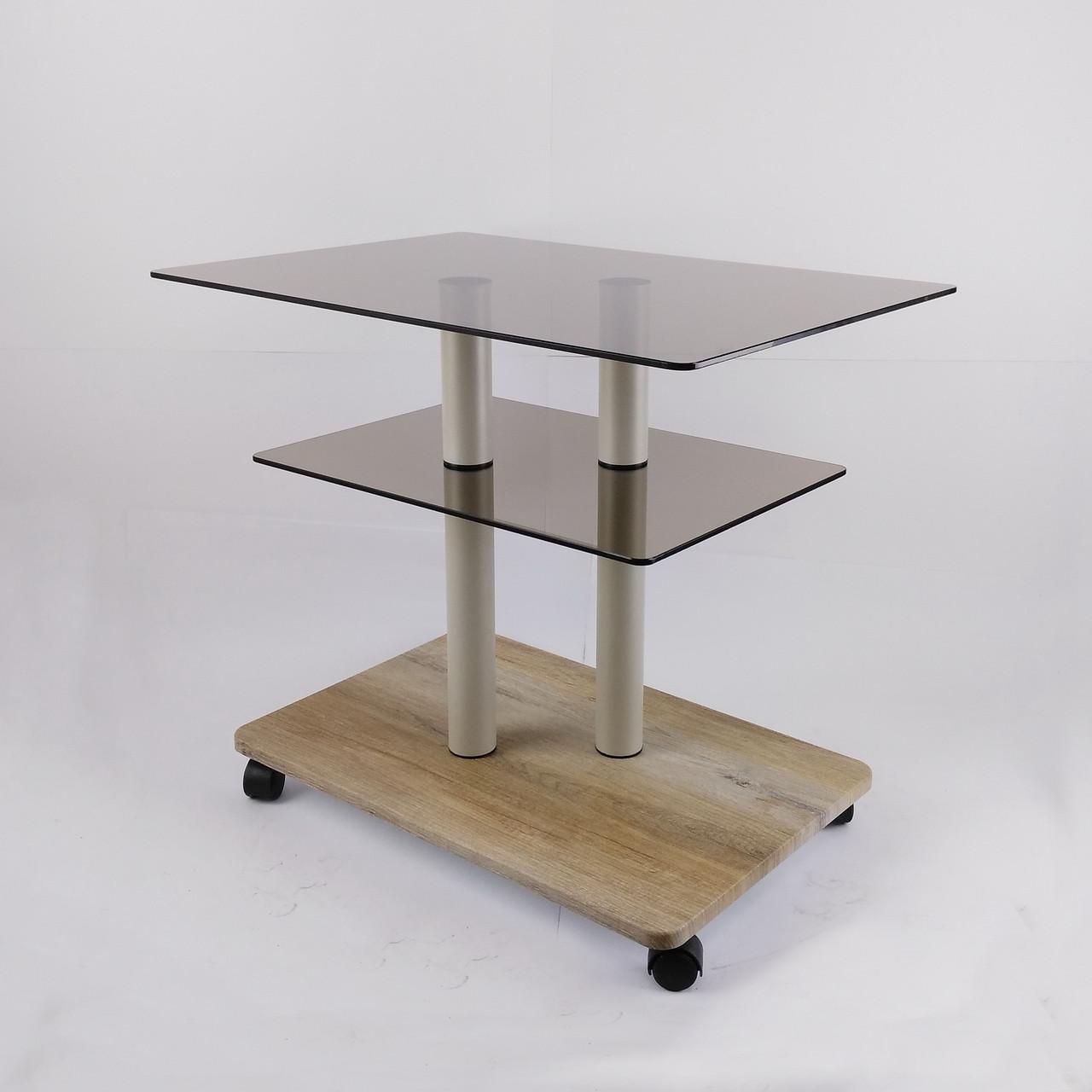 Стол журнальный стеклянный прямоугольный Commus Bravo Light P6 bronza-sequoia-2bgs50