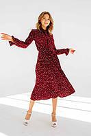 Женское платье с длинным рукавом  и плиссированной юбкой Размеры от 42 до 56