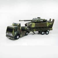 Игровой набор ВОЕННАЯ ТЕХНИКА  тягач + танк свет, звук