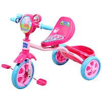 Велосипед детский 3-х колесный лицензионный PEPPA  массажное сиденье, звонок, корзина, пропеллер