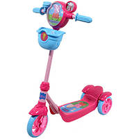 Скутер детский лицензионный PEPPA  3-х колесный,звонок, корзина, пропеллер, тормоз