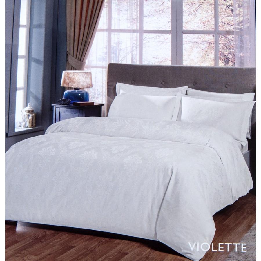 Постельное белье Tac жаккард - Violette beyaz белый евро