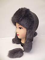Теплая зимняя женская шапка ушанка (мех кролика)