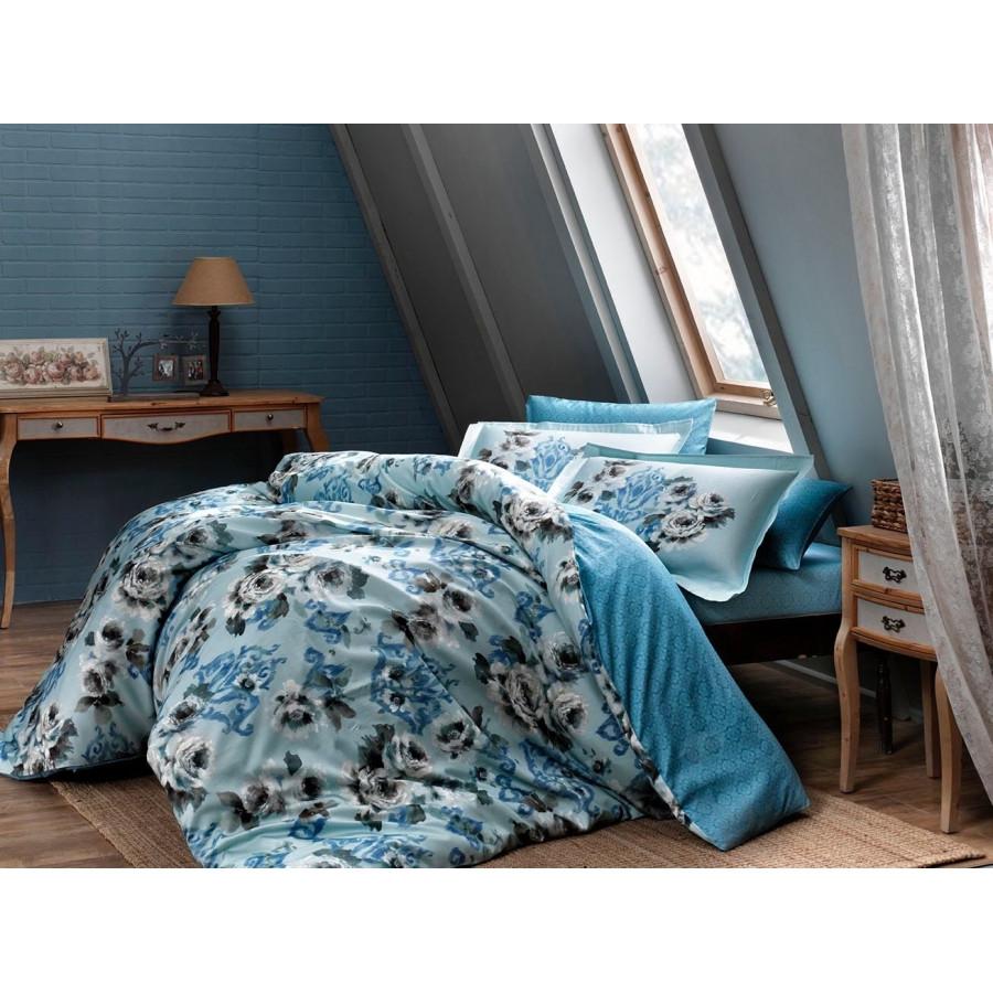 Постельное белье Tac сатин Digital - Barock mavi v01 голубой евро
