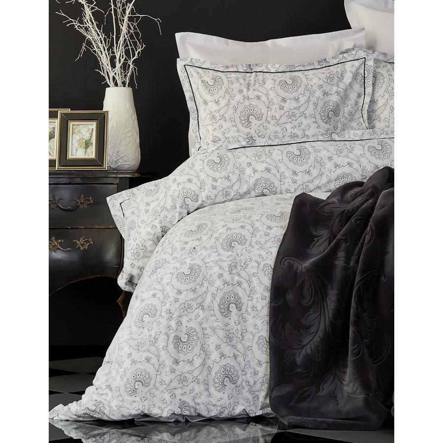 Набор постельное белье с пледом Karaca Home - Tierra siyah 2018-2 черный евро