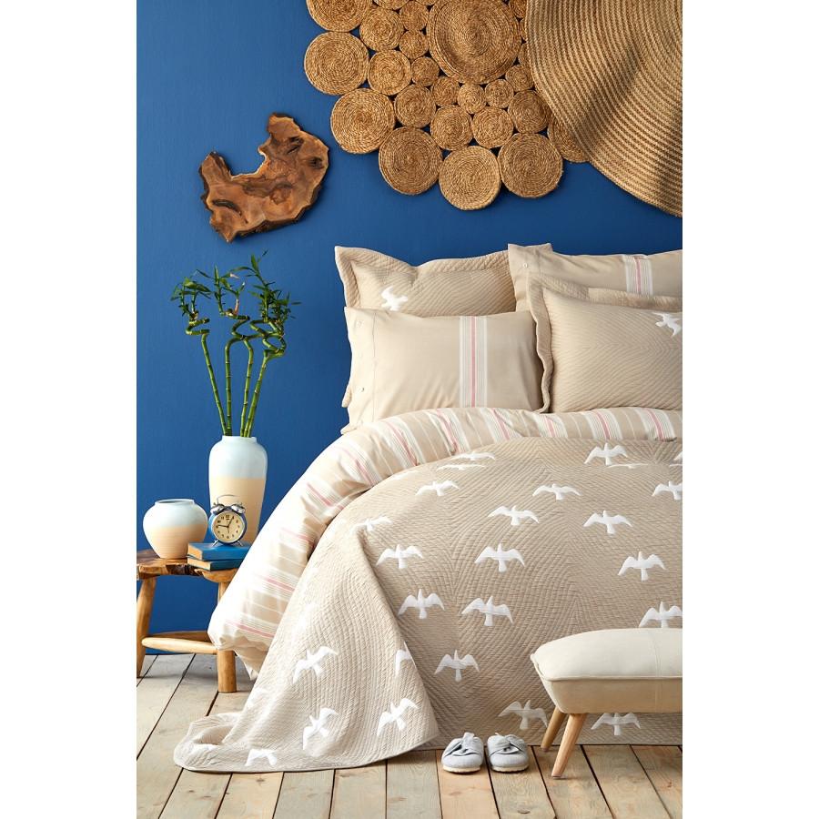 Набор постельное белье с покрывалом Karaca Home - Albatros bej 2020-1 бежевый евро