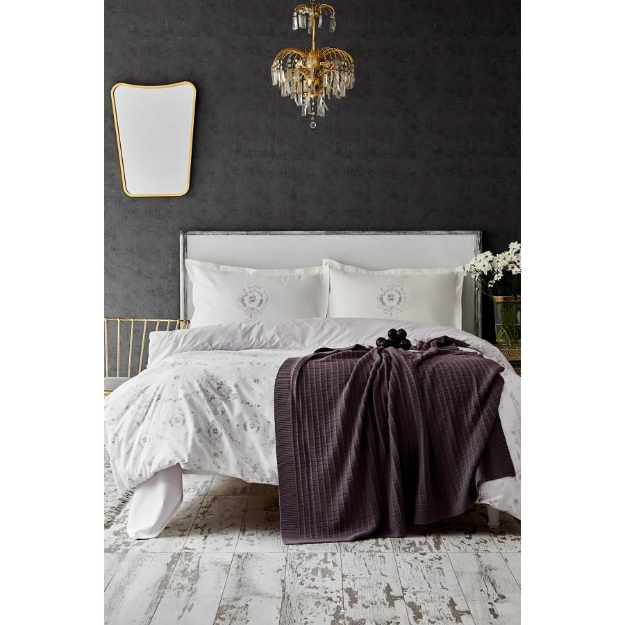 Набор постельное белье с пледом Karaca Home - Quatre delux murdum 2020-1 фиолетовый евро