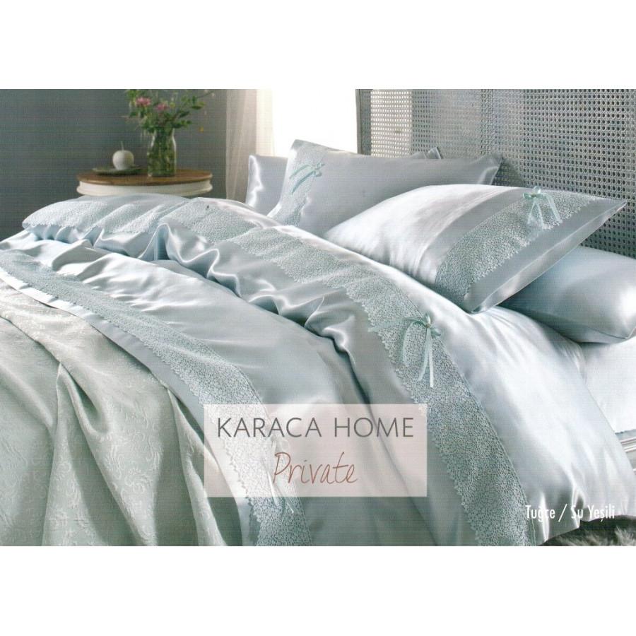 Набор постельное белье с покрывалом пике Karaca Home - Tugce su yesil 2016 бирюзовый евро