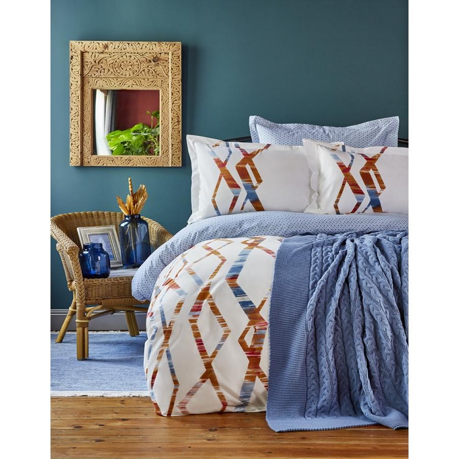 Набор постельное белье с пледом Karaca Home - Shaggy mavi 2018-1 синий евро