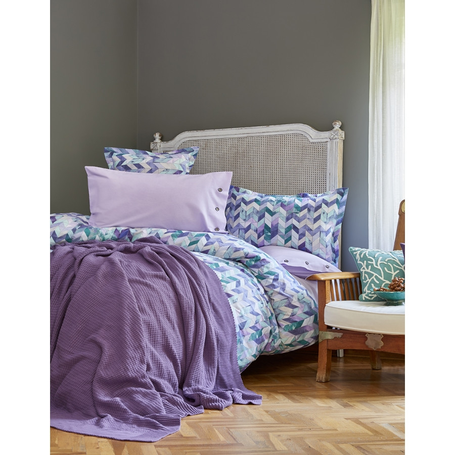 Набор постельное белье с пледом Karaca Home - Melange mor 2018-1 сиреневый евро
