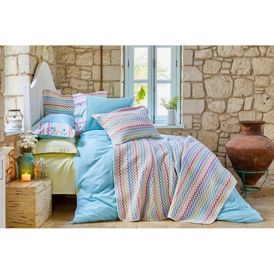 Набор постельное белье с покрывалом Karaca Home - Mood ZigZag 2018-2 евро