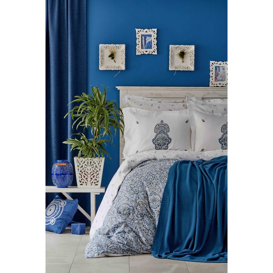 Набор постельное белье с пледом Karaca Home - Paula indigo 2019-1 евро