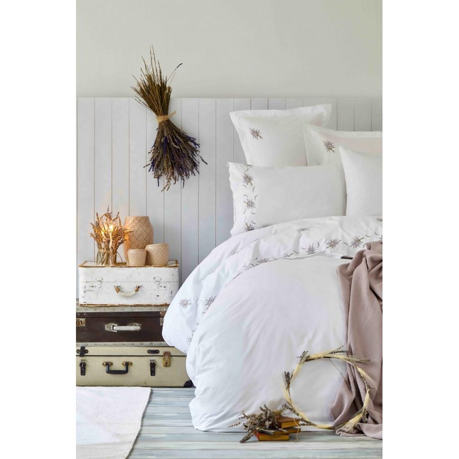 Набор постельное белье с покрывалом Karaca Home - Lalita lila 2019-1 лиловый евро