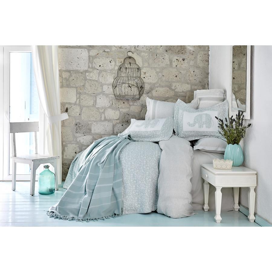 Набор постельное белье с покрывалом + плед Karaca Home - Zilonis su yesil 2019-2 зеленый евро