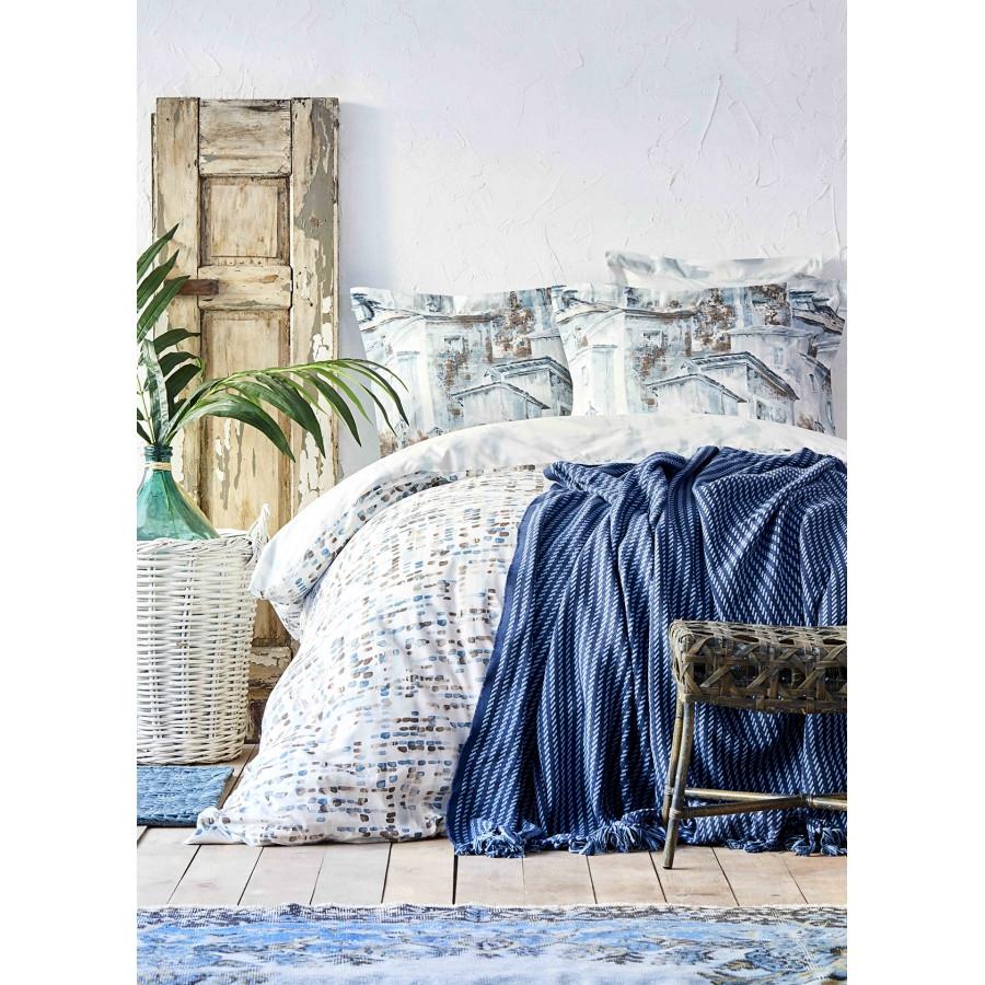 Набор постельное белье с пледом Karaca Home - Vella mavi 2020-1 голубой евро