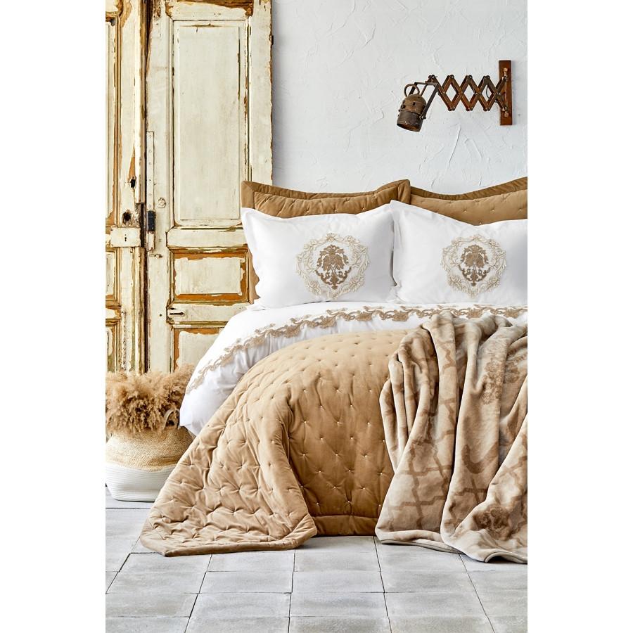 Набор постельное белье с покрывалом + плед Karaca Home - Chester 2020-1 bej бежевый евро (10)
