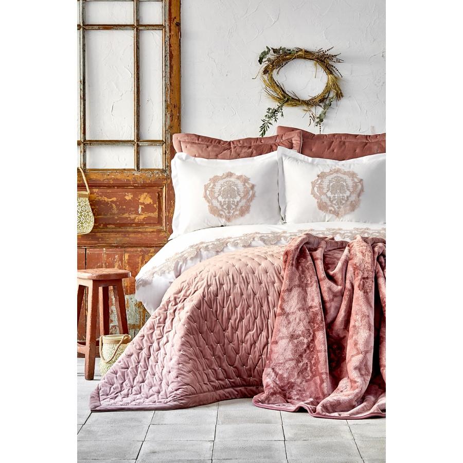 Набор постельное белье с покрывалом + плед Karaca Home - Chester pudra 2020-1 пудра евро (10)